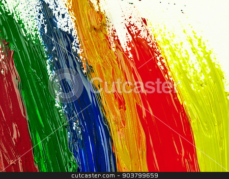 Traces colorful brush on a white sheet of paper. stock photo, Colorful brush strokes on a white sheet. The visible texture paint. by Krzysztof