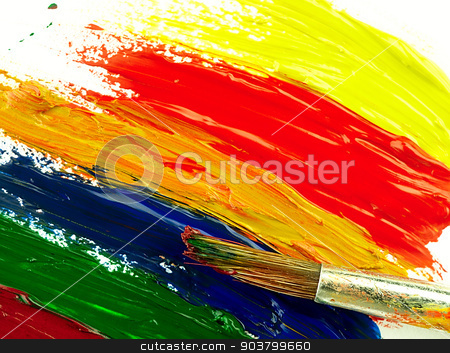 Color traces and brush on a white sheet of paper. stock photo, Colorful brush strokes on a white sheet. Visible texture of paint and brush. by Krzysztof