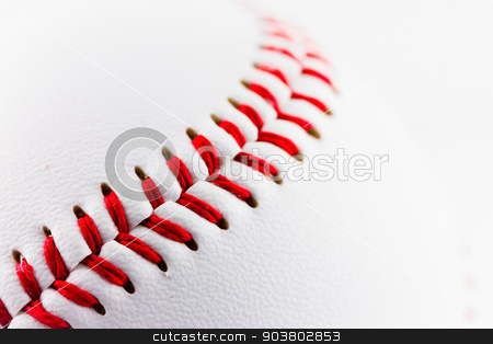 Baseball ball stock photo, A particular of a baseball ball by Federica Tremolada
