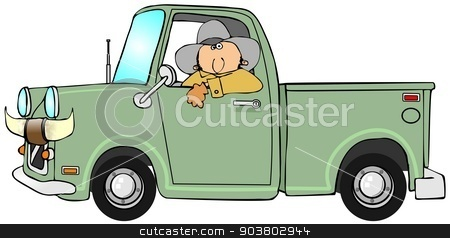 Cowboy driving a pickup stock photo, This illustration depicts a cowboy driving a pickup truck with bull horns on the front. by Dennis Cox