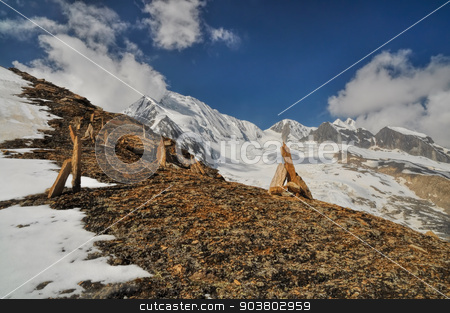 Scenery in Himalayas stock photo, Scenic view in Himalayas mountains in Nepal by Michal Knitl