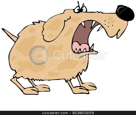 Barking dog stock photo, This illustration depicts a furry dog with a large mouth barking. by Dennis Cox