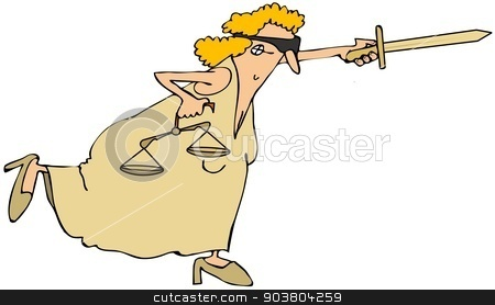 Lady justice stock photo, This illustration depicts Lady Justice balancing on one leg with her sword outstretched. by Dennis Cox