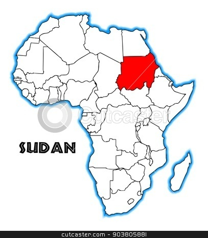 Sudan stock vector clipart, Sudan outline inset into a map of Africa over a white background by Kotto