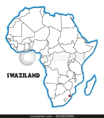 Swaziland stock vector clipart, Swaziland outline inset into a map of Africa over a white background by Kotto