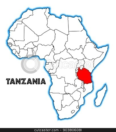 Tanzania stock vector clipart, Tanzania outline inset into a map of Africa over a white background by Kotto