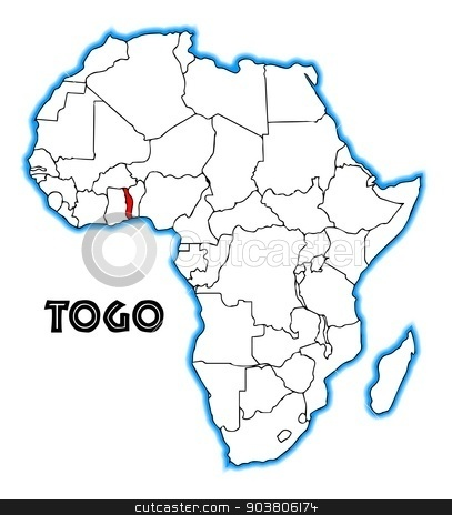 Togo stock vector clipart, Togo outline inset into a map of Africa over a white background by Kotto