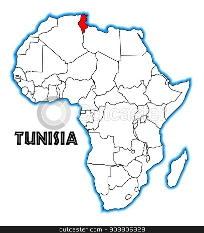 Tunisia stock vector clipart, Tunisia outline inset into a map of Africa over a white background by Kotto