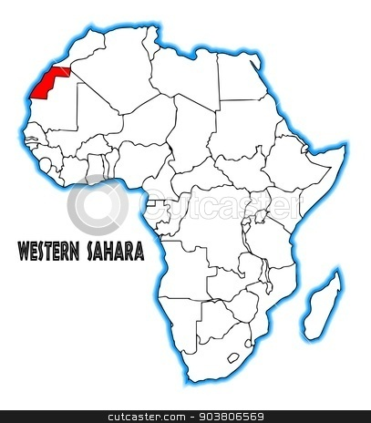 Western Sahara stock vector clipart, Western Sahara outline inset into a map of Africa over a white background by Kotto