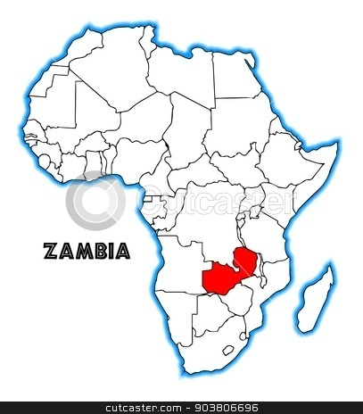 Zambia stock vector clipart, Zambia outline inset into a map of Africa over a white background by Kotto