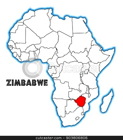 Zimbabwe stock vector clipart, Zimbabwe outline inset into a map of Africa over a white background by Kotto