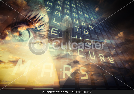 Travel and tourism collage with eyes stock photo, Travel and tourism collage with eyes against blue sky with clouds by Wavebreak Media