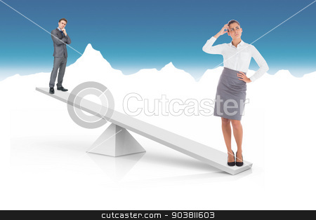 White scales weighing businessman and businesswoman stock photo, White scales weighing businessman and businesswoman on blue and white background by Wavebreak Media