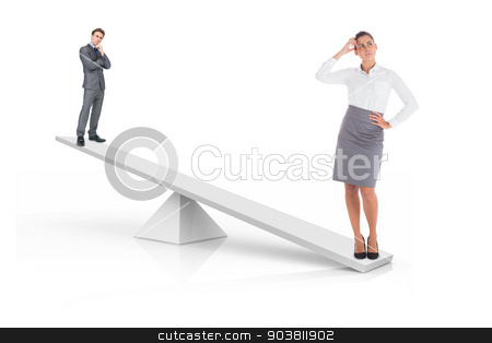 White scales weighing businessman and businesswoman stock photo, White scales weighing businessman and businesswoman on white background by Wavebreak Media