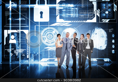 Composite image of business people stock photo, Business people against hologram interface in office overlooking city by Wavebreak Media