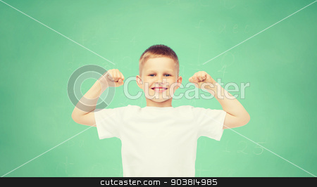 happy little boy in white t-shirt flexing biceps stock photo, childhood, gesture, education, advertisement and people concept - smiling boy in white t-shirt flexing biceps over green board background by Syda Productions