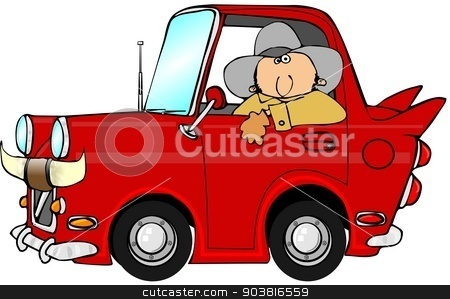 Cowboy car stock photo, This illustration depicts a cowboy driving a tiny car with fins and bull horns on the grille. by Dennis Cox