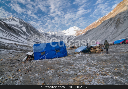 Base camp in Himalayas stock photo, High altitude base camp in Himalayas mountains in Nepal by Michal Knitl