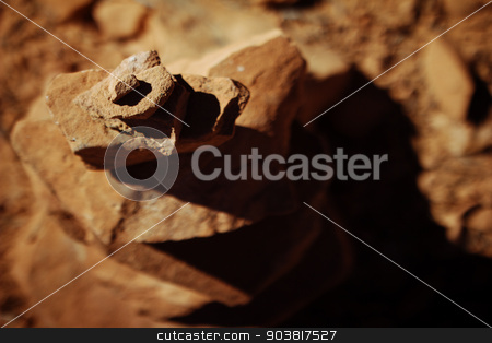 Top down view of rock pile stock photo, Cairn in Canyonlands National Park, Utah by Kris Bason