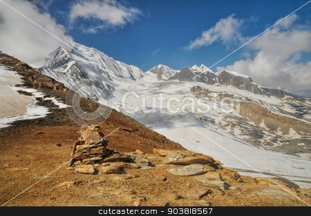 Peak in Himalayas stock photo, Picturesque scenery in Himalayas mountains in Nepal by Michal Knitl