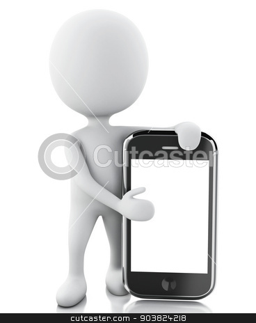 3d white people next to the smartphone. stock photo, 3d renderer image. White people next to the smartphone. Isolated white background   by nicolas menijes