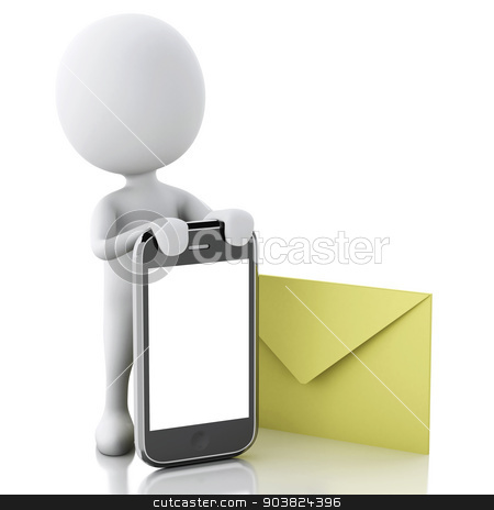 3d white people with mobile phone and sms. stock photo, 3d white people with mobile phone and sms. Isolated white background. 3d image by nicolas menijes