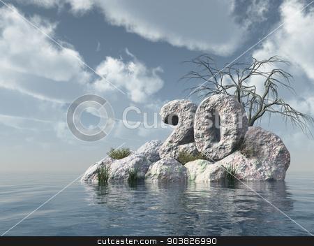 number twenty rock stock photo, number twenty rock at water - 3d illustration by J?
