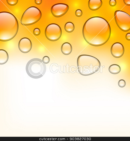 Clean water droplets on orange surface, copy space for your text stock vector clipart, Illustration clean water droplets on orange surface, copy space for your text - vector by -=Mad Dog=-