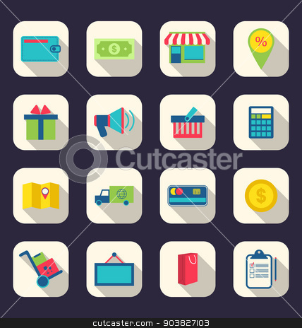 Flat icons of e-commerce shopping symbol, online shop elements a stock vector clipart, Illustration flat icons of e-commerce shopping symbol, online shop elements and commerce item, long shadow effect - vector by -=Mad Dog=-