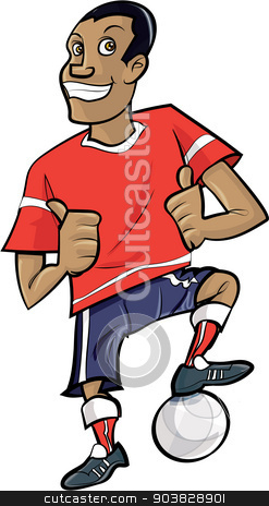 Cartoon footballer with thumbs up stock vector clipart, Cartoon footballer with thumbs up. Isolated on white by antonbrand