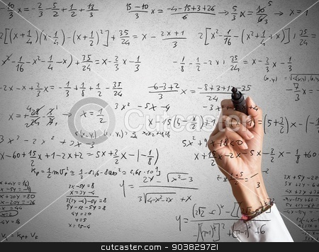 Mathematical calculation stock photo, Woman explains and solves a mathematical calculation by Federico Caputo