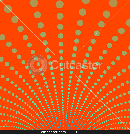Gold Discs on Deep Orange Background stock photo, A digital abstract fractal image with a fountain of gold discs on a deep orange background. by Colin Forrest