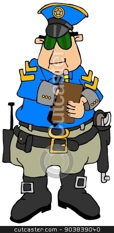Cop writing a ticket stock photo, This illustration depicts a police officer writing out a ticket on a clipboard. by Dennis Cox