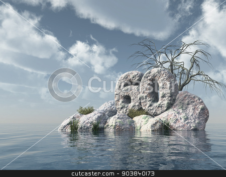 number sixty rock stock photo, number sixty rock at water - 3d illustration by J?
