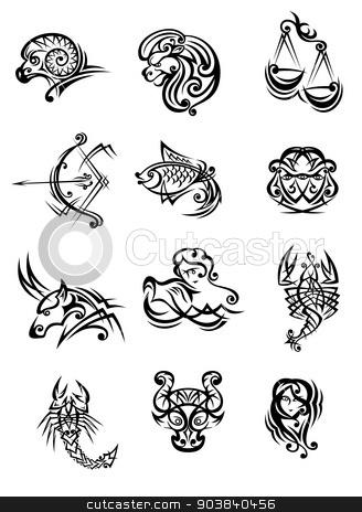 Tribal black and white zodiac signs stock vector clipart, Tribal black and white vector doodle sketch zodiac signs by Anzhela Buch
