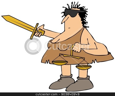 Neanderthal Justice stock photo, This illustration depicts a blindfolded Neanderthal Lady Justice holding a sword and scales. by Dennis Cox