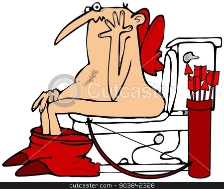 Cupid on the toilet stock photo, This illustration depicts Cupid sitting on a toilet with his gown around his ankles. by Dennis Cox