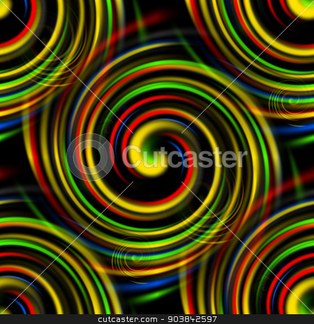 Color Swirls stock photo, Multi color swirls background on black. by Henrik Lehnerer