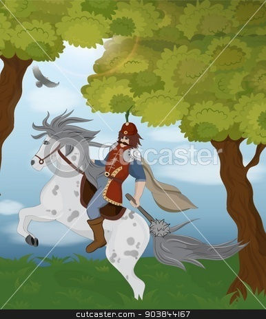 Vector illustration of a knight on a horse. Eps10. stock vector clipart,  by Gordana Stankovic