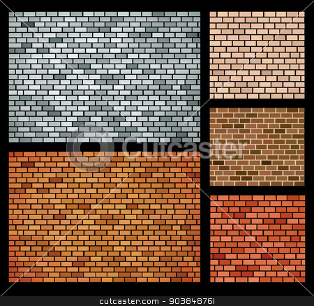 Vector bricks stock vector clipart, Vector background of bricks of different colors by Alexander Zelnitskiy
