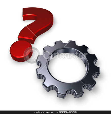 gear question stock photo, gear wheel and question mark on white background - 3d illustration by J?