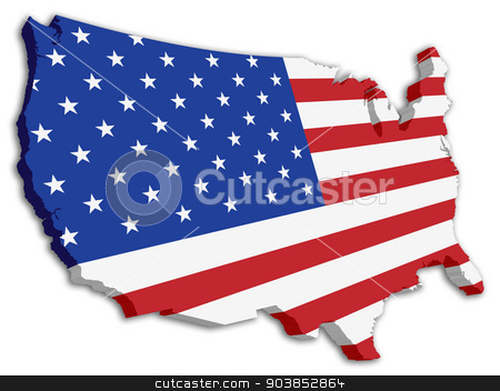 Map Of America 3d Vector.Usa 3d State Flag Map Stock Vector