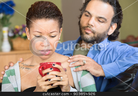 Sad Woman and Sympathetic Man stock photo, Sad woman with tattoo and concerned man with beard by Scott Griessel