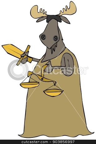 Moose justice stock photo, This illustration depicts a blindfolded bull moose in a gown and holding a sword and the scales of justice. by Dennis Cox