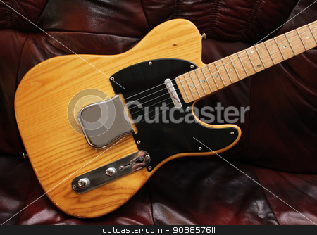 Solid Electric stock photo, An early  solid body electric guitar with chrome hardware by Kotto