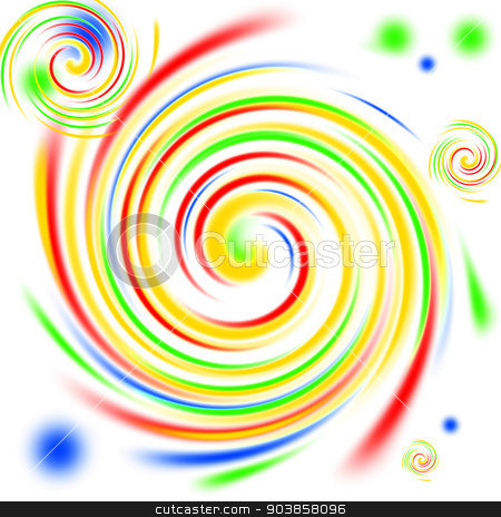 Color Swirls stock photo, Multi color swirls background on white. by Henrik Lehnerer