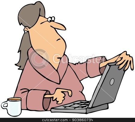 Woman viewing content on computer stock photo, This illustration depicts a woman in a bathrobe viewing questionable content on her laptop screen. by Dennis Cox