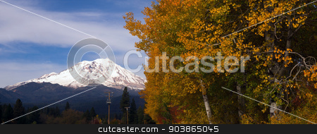 Mt Shasta Rural Fall Color California Nature Outdoor stock photo, Beautiful nature scene in rural countryside south of Mt. Shasta by Christopher Boswell