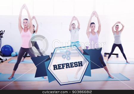 The word refresh and sporty class doing pilate exercises  stock photo, The word refresh and sporty class doing pilate exercises in fitness studio against hexagon by Wavebreak Media