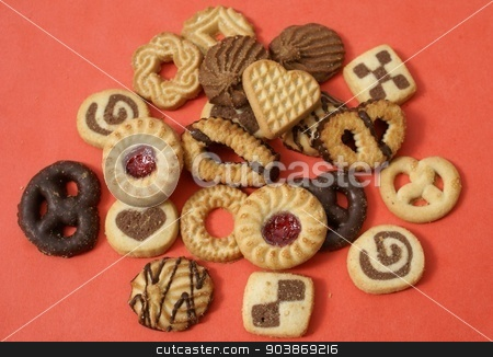 cookies. biscuits. chocolate biscuits and jam biscuits stock photo, sweet food by Saphire Ovadia